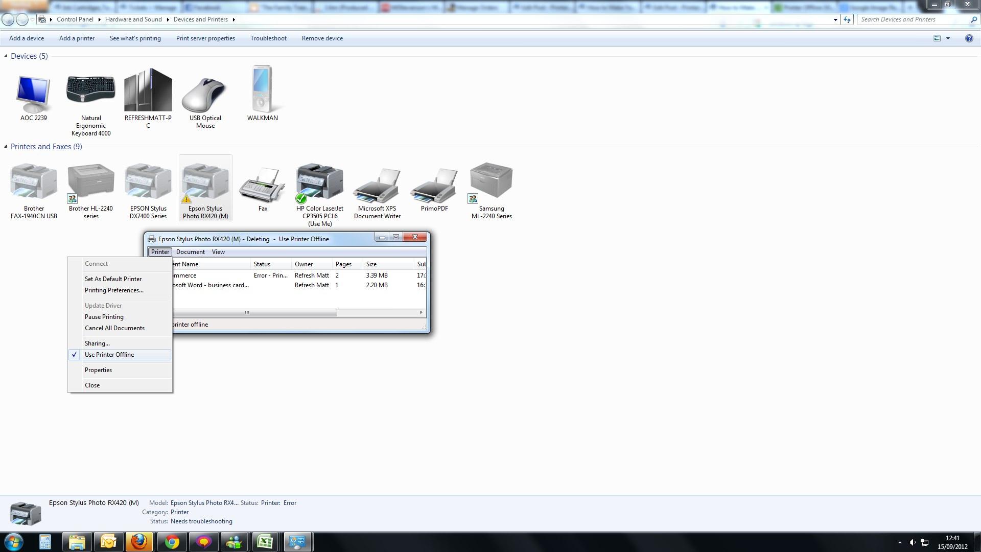 How to make your offline printer online windows 7
