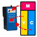 Refilling Dell MK991, MK993, DH829, CH884, J5567 & M4646 Colour Ink Cartridges