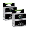 Black Lexmark Original Return Program 100xl Ink Cartridges Twin Pack for Lexmark Interpret S405 Printers (14N0848) - High Capacity