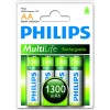Philips Rechargeable AA Batteries (Four Pack - 1300mAh)