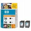Black Original TWIN PACK of cartridges for HP PSC 2170 Printers (C6656A/HP 56 x 2) 19ml