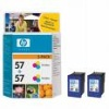 Colour Original TWIN PACK of cartridges for HP PSC 2170 Printers (C6657A/HP 57 x 2) 17ml