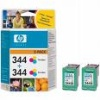 Colour Original TWIN PACK of cartridges for HP Photosmart 2575 Printers (C9505EE) - HP 344 x 2 - 14ml