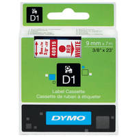 Dymo LabelManager 300 ready Original Dymo 40915 Red on White 9mm x 7m D1 Label Cartridge (S0720700) Image