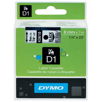 Dymo LabelManager 300 ready Original Dymo 43610 Black on Transparent 6mm x 7m D1 Label Cartridge (S0720770) Image