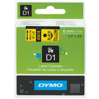 Dymo LabelManager 300 ready Original Dymo 43618 Black on Yellow 6mm x 7m D1 Label Cartridge (S0720790) Image