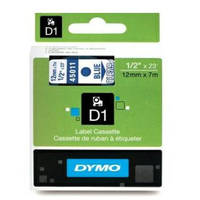 Dymo LabelManager 300 ready Original Dymo 45011 Blue on Transparent 12mm x 7m D1 Label Cartridge (S0720510) Image