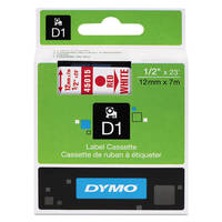Dymo LabelManager 300 ready Original Dymo 45015 Red on White 12mm x 7m D1 Label Cartridge (S0720550) Image