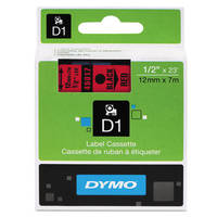 Dymo LabelManager 300 ready Original Dymo 45017 Black on Red 12mm x 7m D1 Label Cartridge (S0720570) Image