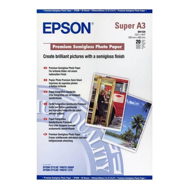 Epson 8 Color Inkjet Print Epson Premium Semigloss Photo: Epson A3+ (Super A3) Premium Semi-Gloss Photo Paper 250