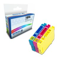 Colour Valuepack of 3 Remanufactured Epson 18XL Ink Cartridges (T1812/T1813/T1814) Image