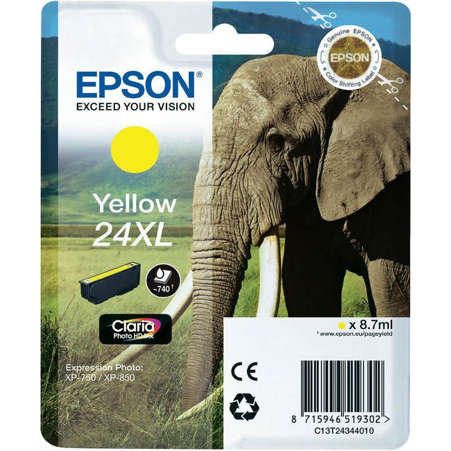 OEM High Capacity Yellow Epson 24XL Ink Cartridge (C13T24344010)