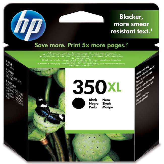 Original HP 350XL High Capacity Black Ink Cartridges (CB336EE)