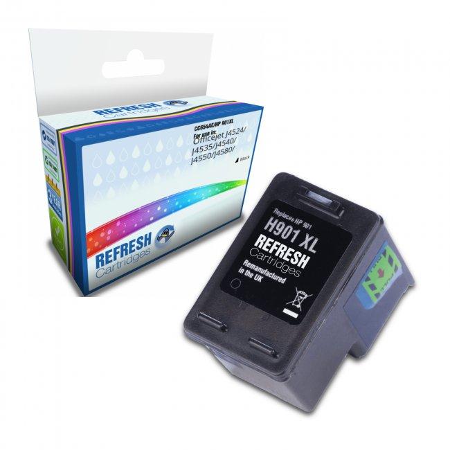Remanufactured HP 901XL High Capacity Black Ink Cartridge (CC654AE)