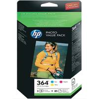 HP PhotoSmart 6525 e-All-in-One ready Original HP 364 Colour Ink Cartridge & Photo Paper Multipack (CH082EE) Image