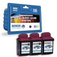 Everyday Valuepack of 3 Remanufactured Kodak 12A1970 & 12A1980 Ink Cartridges (012A1970E & 012A1980E) Image