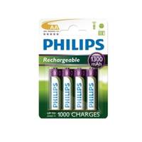 Philips Rechargeable AA Batteries Four Pack (1300mAh) Image