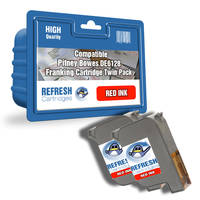 Compatible Pitney Bowes DE6128 Red Franking Machine Ink Cartridge Twinpack  (DE6128) Image